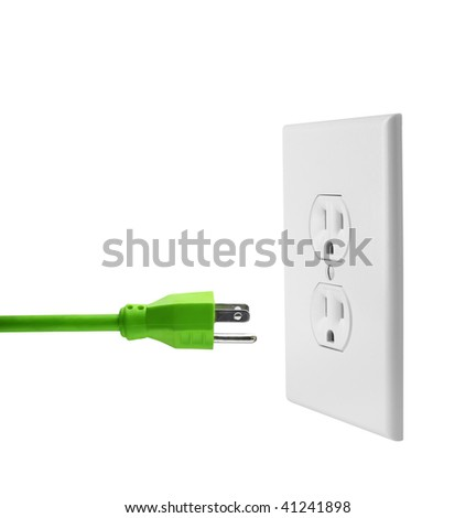 Green electrical cord and wall outlet