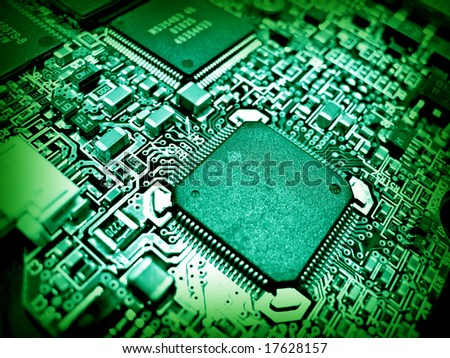 Green electronic circuit close-up. Macro background 3