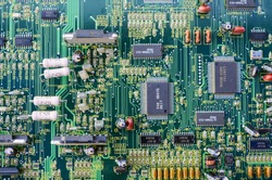 green Electronic system computer motherboard, digital chip with transistor, microcircuit.