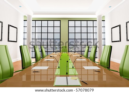 green elegant meeting room - rendering - the image on background is a my photo, new york