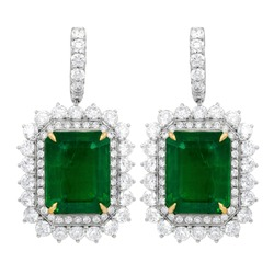 Green Emerald Drop Earrings in a double halo setting with round White Diamonds