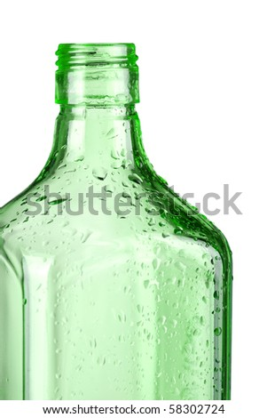 Green empty bottle. Closeup, isolated on white