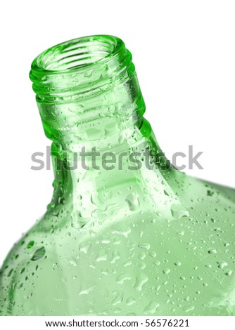 Green empty bottle. Closeup, isolated on white background