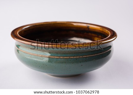 green empty ceramic bowl isolated on white background Stock photo ©