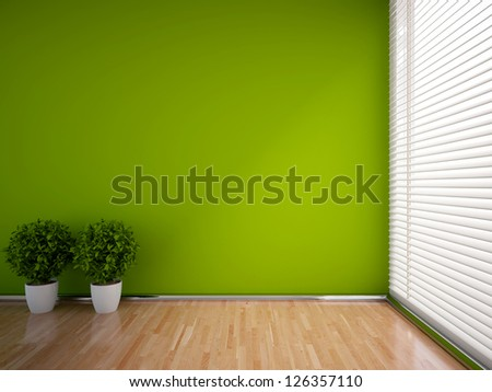 green empty interior with plants