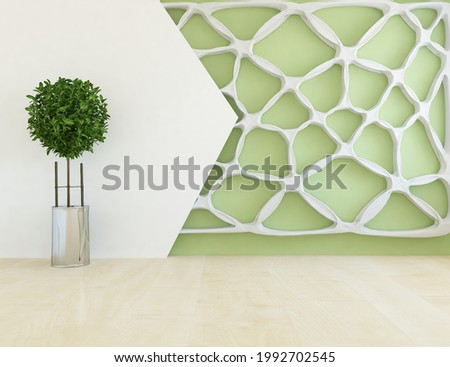 Green empty minimalist room interior with vase on a wooden floor, decor on a large wall, white landscape in window. Background interior. Home nordic interior. 3D illustration