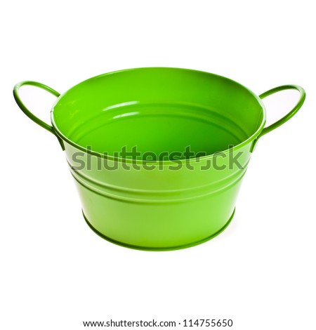 Green empty pail , green bucket isolated on white background