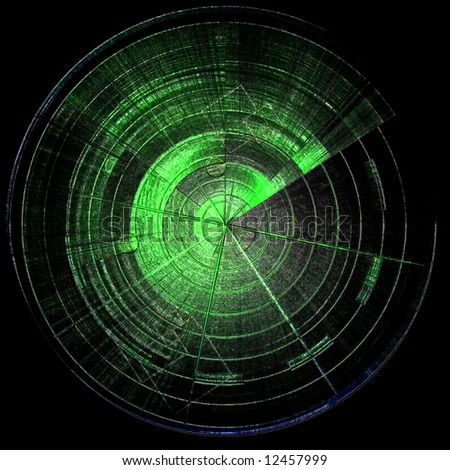 Green empty radar screen