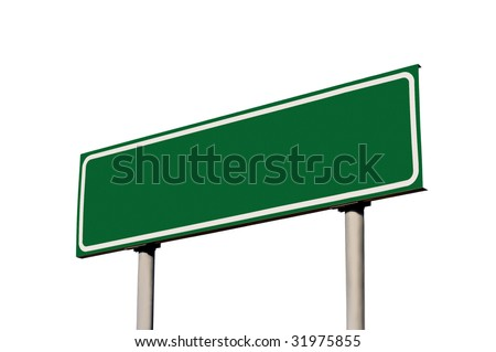 Green Empty Road Sign, Isolated