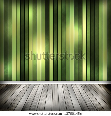 Green empty room, interior with line wallpaper. High resolution texture background.