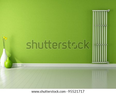 green empty room with hot water vertical radiator - rendering