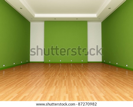Green Empty room with parquet floor - rendering