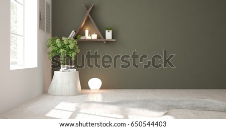 Green empty room with table. Scandinavian interior design. 3D illustration #650544403