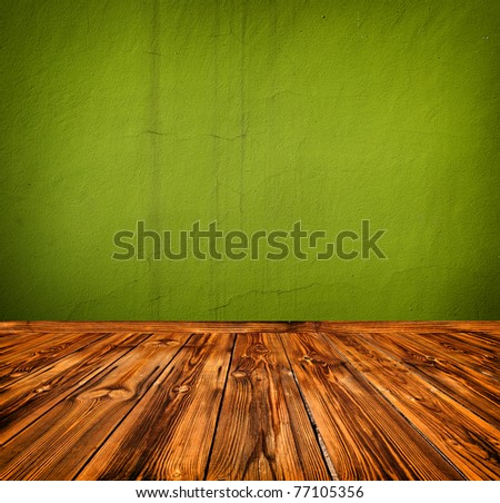 green empty room with wooden floor