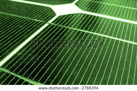Green Energy -- a closeup image of solar panels