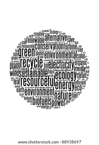 Green energy and recycle illustration concept info-text graphics and arrangement word clouds concept
