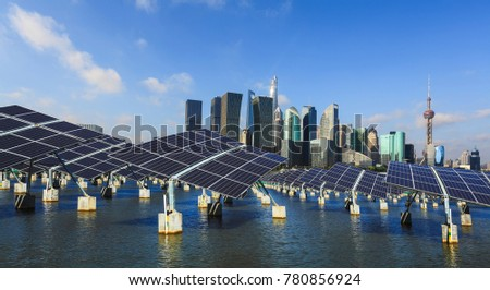 Green energy and sustainable development of solar energy with Shanghai bund panorama Skyline #780856924