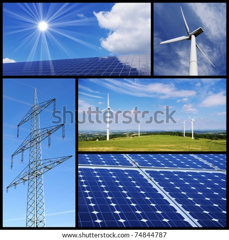 Green energy collage: Solar panels, wind power and pylon.