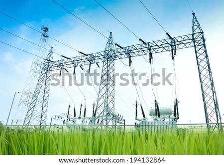 Green energy concept, Electricity station, Electricity plant landscape over blue sky