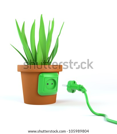 Green energy concept - green power cord and a  pot plant with an outlet