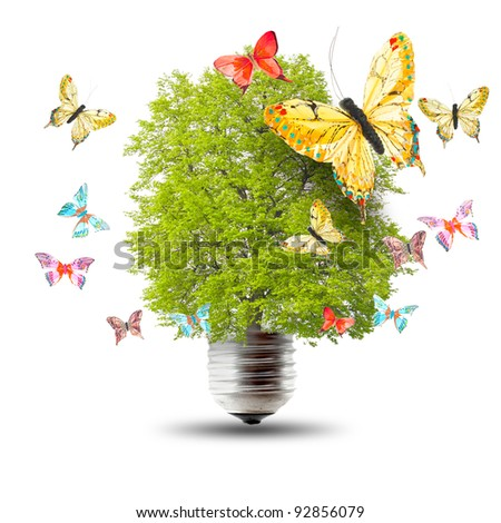Green energy concept - green tree growing out of a bulb and butterflys