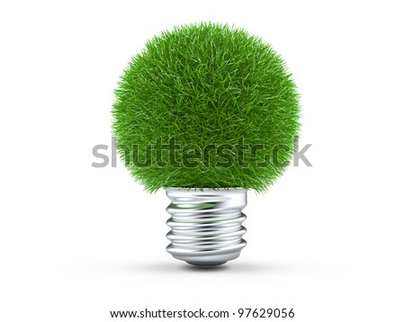 Green energy concept. Light bulb with green grass on white.