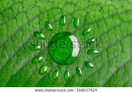Green energy concept. Sun made of water droplets