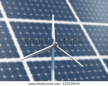 Green energy concept with wind turbine and solar panel system.
