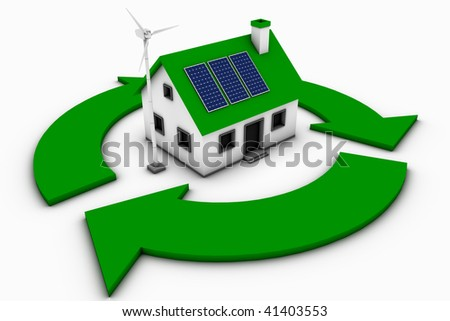 Green energy conceptual rendering of a house with a wind turbine and solar panels with a recycle sign.