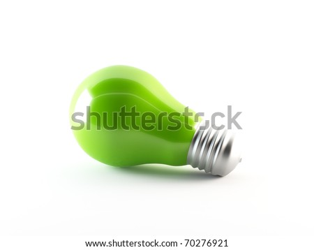Green energy. 3D rendering of a green light bulb