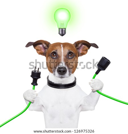 green energy dog with a cable and a light bulb