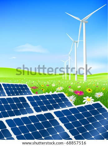 Green energy field with turbines and solar panels
