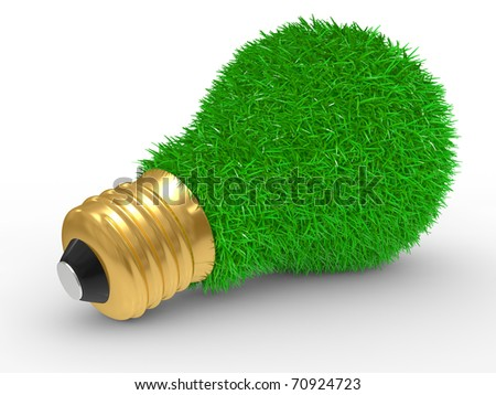 Green energy. Green grass on lightbulb on a white background