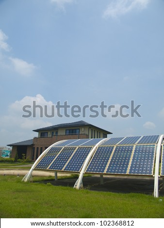 Green energy house    environmental equipment environmental line panel power recycling renewable resources roof science sky solar station sun sunlight sunny supply system technology
