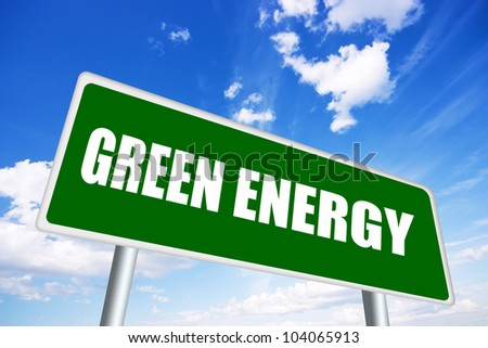 Green energy illustrated sign