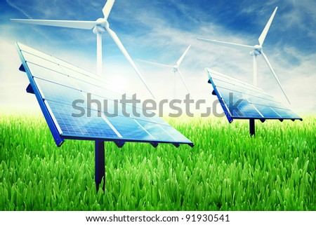 Green energy installation in a green field of grass