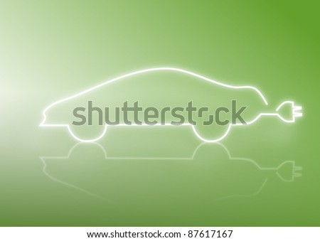 Green energy, silhouette of a car with reflections