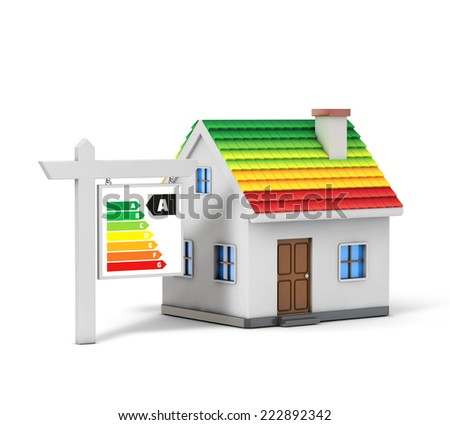 Green energy simple house isolated white background with clipping path