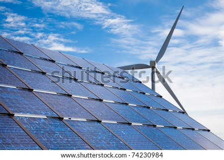Green energy - solar panels and wind turbine.