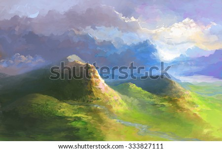 Green English Landscape with Hills under blue cloudy sky.