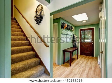 green entryway of country house ...
