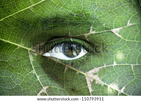 Green environment concept - human face with an open eye covered with a green leaf texture