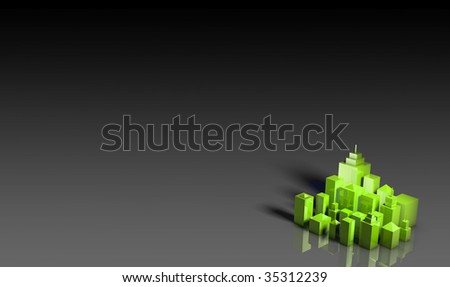 Green Environment Friendly 3d City as Background