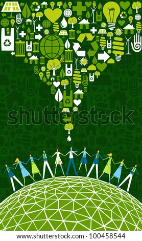 Green environment icons set splash over happy eco people globe.