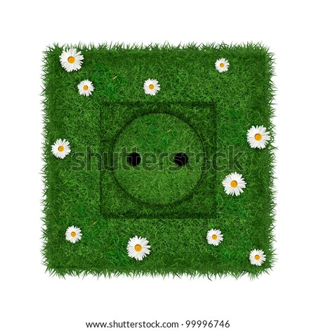 Green euro socket covered with grass and flowers