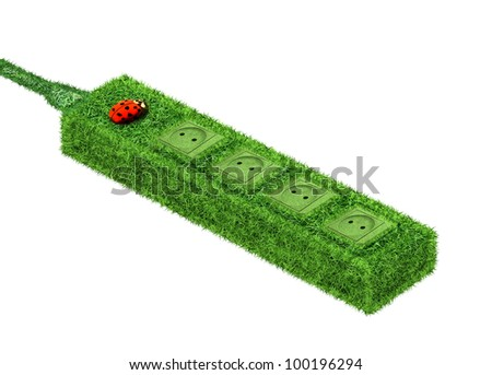 Green euro socket covered with grass and ladybird