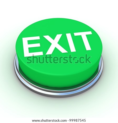 green EXIT button - Semi isolated with soft shadows