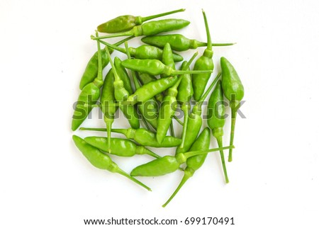Green Extra Small Chilli Isolated on White Background-2
