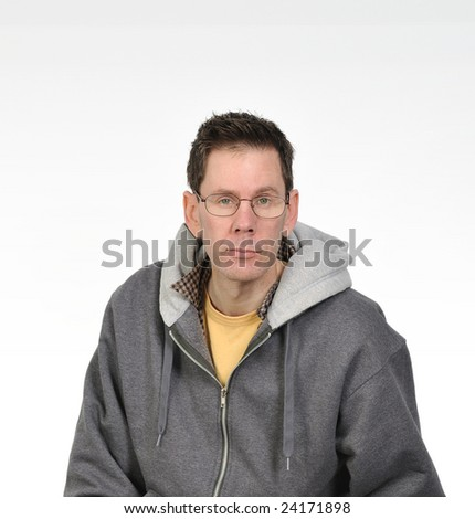 Green Eyed Man With Glasses in a Charcoal Colored Sweatshirt