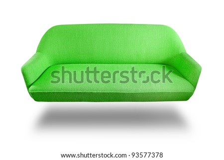 Green fabric sofa isolated and shadow on white background with clipping path